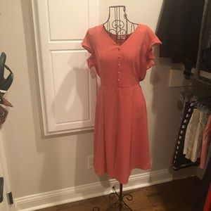 Coral crepe short sleeve dress